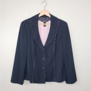 Lane Bryant | Black Blazer with Pink Lace Details